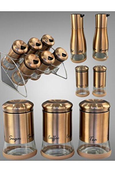 Lüx Metal 15 Parça Bronz Renk Baharat Takımı