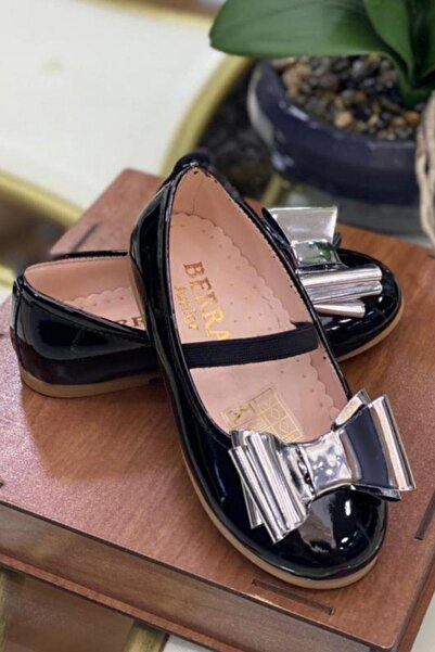 Riccotarz Kız Çocuk Siyah Fiyonklu Babet Ayakkabı