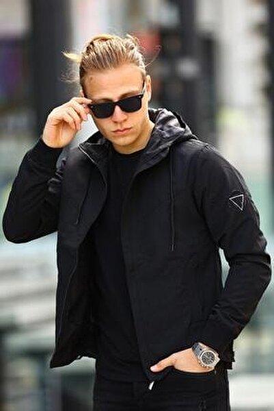 Erkek Kapüşonlu Siyah Mevsimlik Ceket