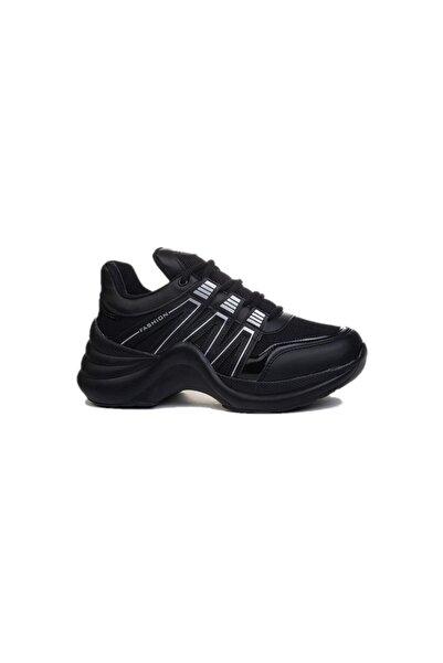 Twingo Kadın Siyah Yürüyüş Kalın Yüksek Taban Spor Ayakkabı 602