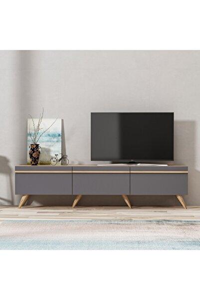 BMdekor Tv Sehpası Amsterdam Antrasit Meşe 180 cm