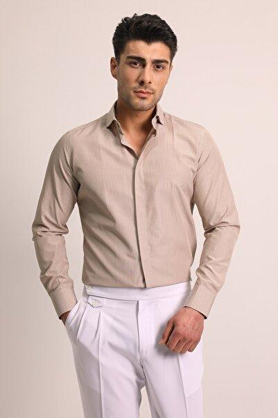 Fc Plus Erkek Bej İtal Yaka Erkek Gömlek