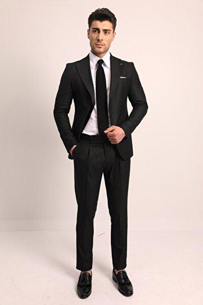 Fc Plus Erkek Siyah Tek Pile Slım Fıt Pantolonlu Takım Elbise