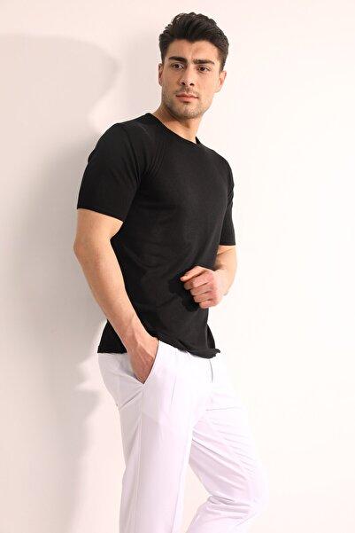 Fc Plus Erkek Siyah Bisiklet Yaka Triko T shirt
