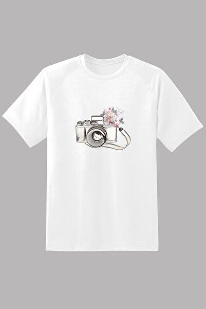 Kio Tişört Nostalji Kadın Eski Retro Analog Fotoğraf Makinası Baskılı Tişört