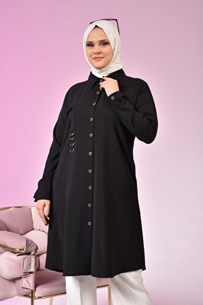 Ferace Kadın Tesettür Taşlı Ve Tokalı Aksesuarlı Tiril Yazlık Ayrobin Kumaş Tunik