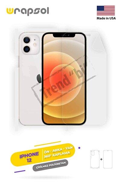Wrapsol Apple Iphone 12 Ekran Koruyucu,arka Ön Yan,darbe Emici Poliüretan Fullbody