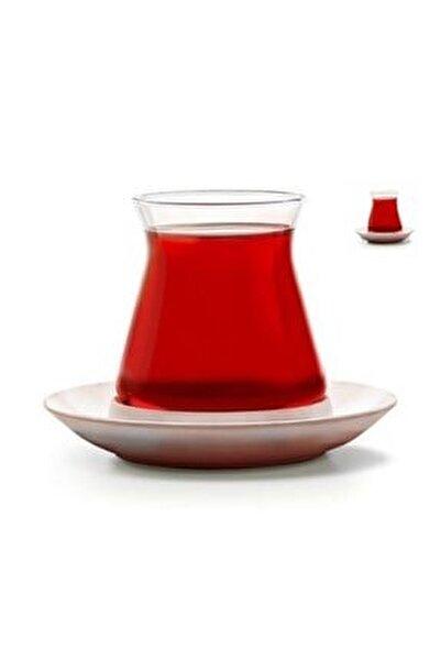6 Adet Çay Bardağı Ve 6 Adet Porselen Çay Tabağı