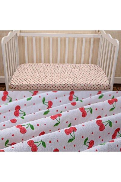 Elifababy Kiraz Desen Pamuklu Bebek Çarşafı 70x140 Cm