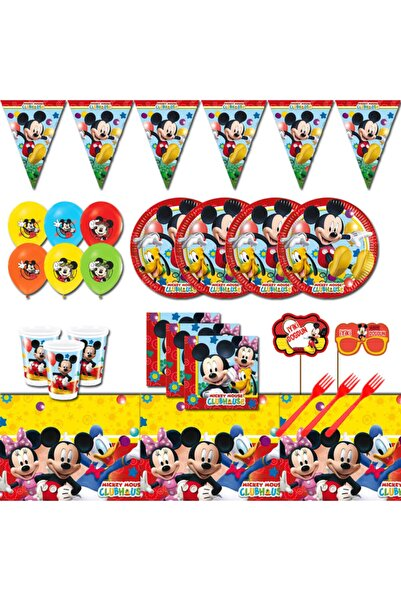 Mickey Mouse Doğum Günü Parti Malzemeleri Seti Süsleri 24 Kişilik