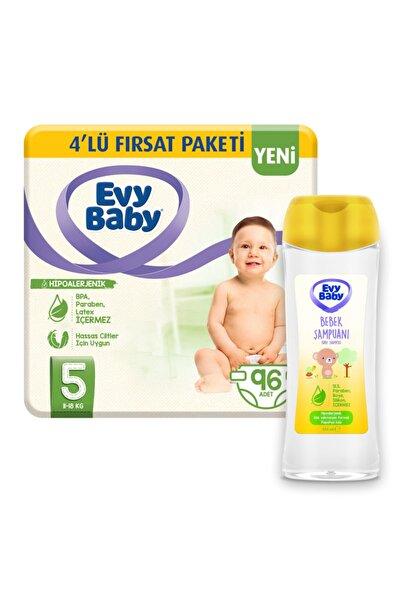 Evy Baby Bebek Bezi 5 Beden Junior 96 Adet Ve Bebek Şampuanı 250 ml
