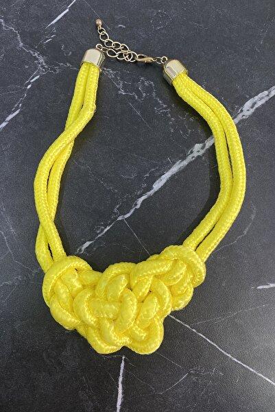 TAKIŞTIR Kadın Sarı Özel Tasarım Dü��üm Figürlü İp Kolye
