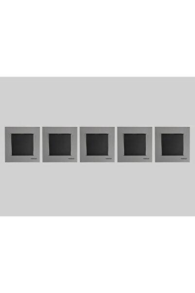 Netelsan Renkli Anahtar Düğmesi Beş Adet / Gümüş Mat - Siyah