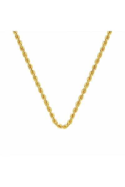Altın Sepeti Kadın Altın Burma Halat Zincir 65 cm