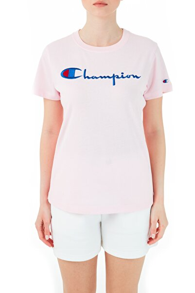 Champion Kadın Pembe Logo Baskılı Bisiklet Yaka Pamuk T Shirt  110992 Bap Ps104