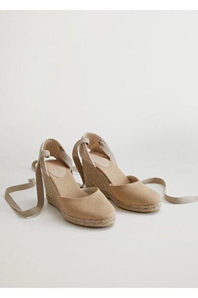 MANGO Woman Dolgu Topuklu Çizgili Sandalet