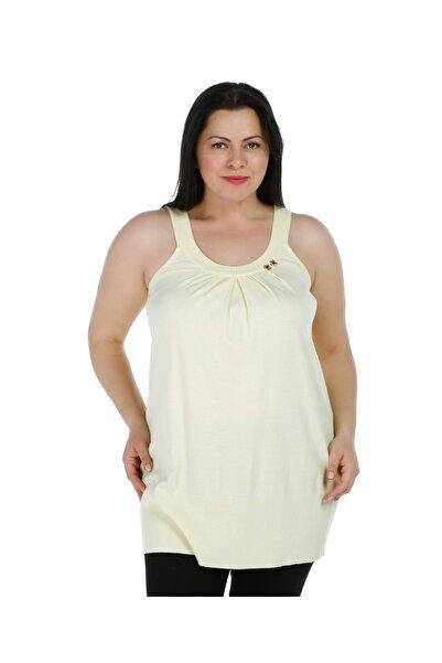Solo Kadın Sarı Tayt Üzeri Triko Örme Kolsuz Tunik