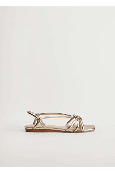 MANGO Woman Metalik Bantlı Sandalet