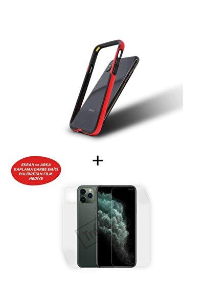 Wrapsol Apple Iphone 11 Pro Max Uyumlu Bumper Kırmızı, Ön, Arka Poliüretan Film Hediyeli Amerikan Xtreme