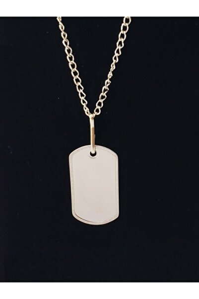 Menekşe Unisex Gümüş Renk Zincirli Asker Künye 2li Plaka