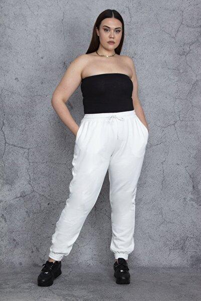 Şans Kadın Kemik Bel Ve Paça Lastik Detaylı İçi Şardonlu Kalın Kumaş Spor Pantolon 65N24426