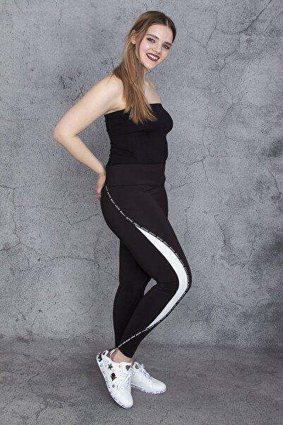 Şans Kadın Siyah Yan Detaylı Sporcu Tayt 65N24294