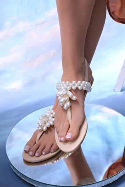Kadın Bej Hakiki Deri Inci Günlük Taşlı Sandalet