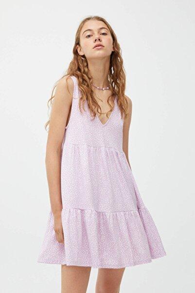Pull & Bear Kadın Mor Çiçek Desenli Askılı Mini Elbise