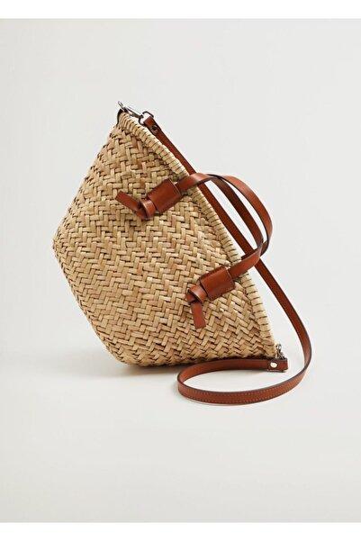 MANGO Woman Çift Askılı Mini Basket Çanta