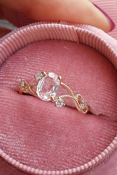 My Diamond Pembe Safir Taşlı Pırlanta Yüzük Rose Gold 14 Ayar