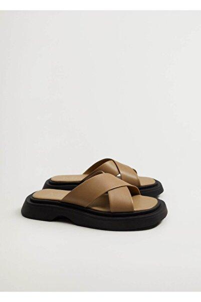 MANGO Woman Bantlı Deri Sandalet