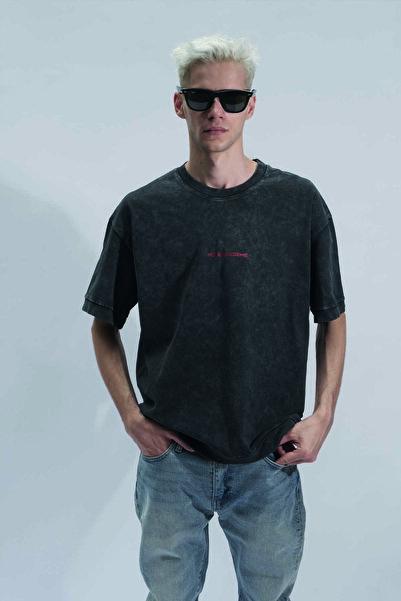 HOLEACADEMIE Unisex Antrasit Holeacademie Kalın Kumaş T-shirt
