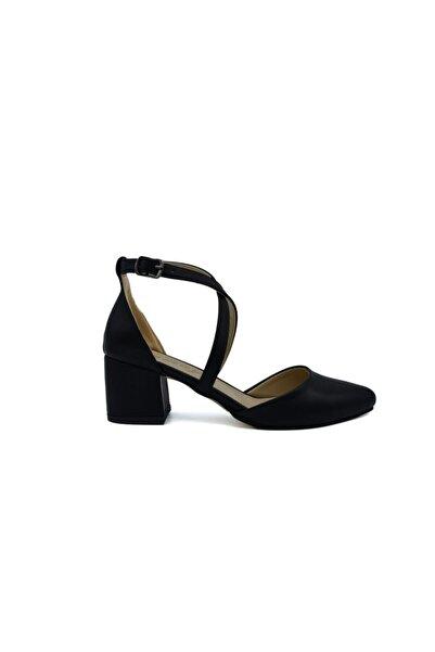 Emay Kadın Siyah Bilekten Çapraz Topuklu Ayakkabı