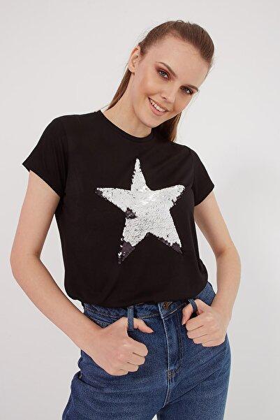 Fashion Friends Kadın Payetli Bisiklet Yaka T Shirt  T Shirt 21y0497b1