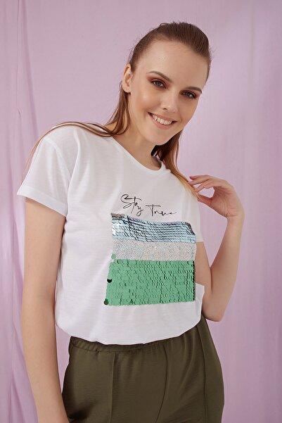 Fashion Friends Payetli Bisiklet Yaka T Shirt Kadın T Shirt 21y0494b1