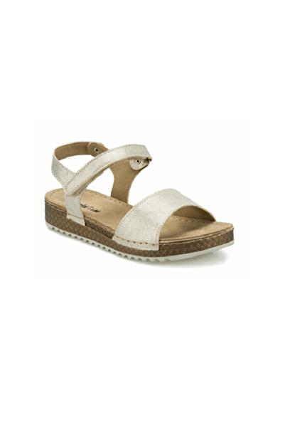 Polaris 161183 Altın Comfort(rahat) Taban Cırtlı Kadın Sandalet