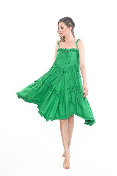 Ayşe Brav Yeşil Fırfırlı Askılı Bol Elbise