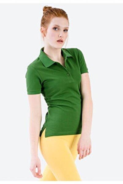 Yeşil Polo Yaka Yanları Yırtmaç Detaylı T-shirt