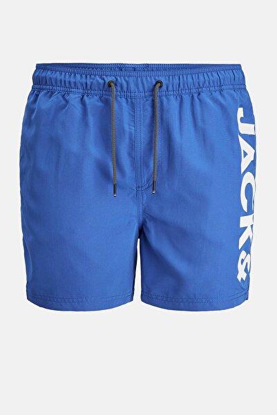 Jack & Jones Erkek Mavi Baskılı Mayo Short 12183806