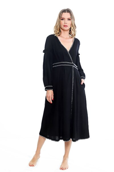 Ayşe Brav Kruvaze Kapamalı Nakışlı Elbise