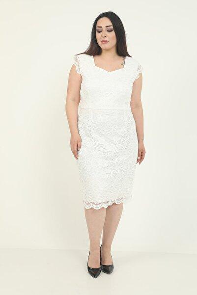 Butik Miza Beyaz Dantel Büyük Beden Elbise