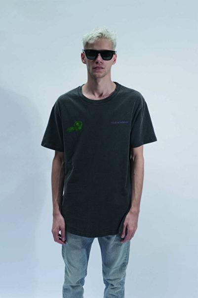 HOLEACADEMIE Unisex Antrasit Yıkamalı Yazı Detay Kısa Kol Tshirt