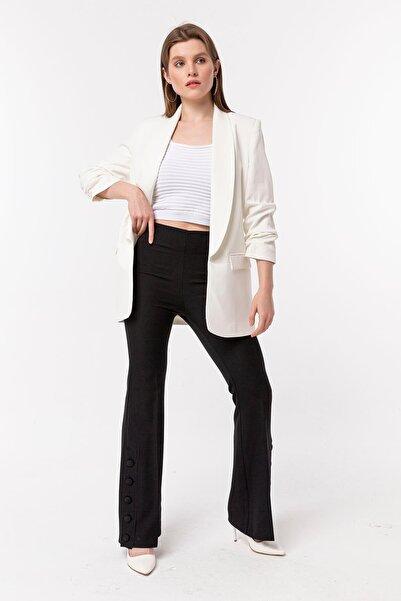 NATUREL Kadın Beyaz Kolu Büzgülü Blazer Ceket