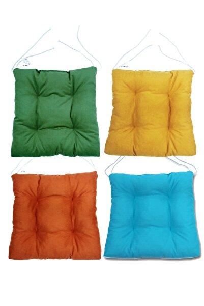 Mutfakta Moda Renkli Bahar Serisi 4 Lü Sandalye Minderi