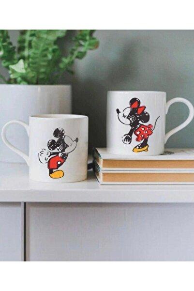 FMM Tasarım Mickey Mouse Sevgili Baskılı 2'li Kupa Bardak