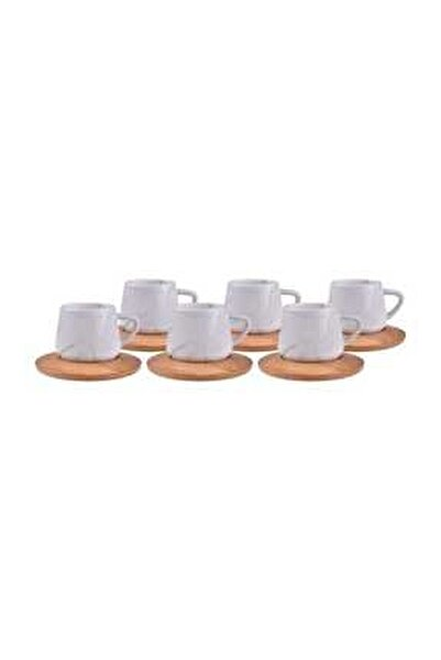 Marka Ebru Yeşil 6 Kişilik Kahve Fincan Takımı