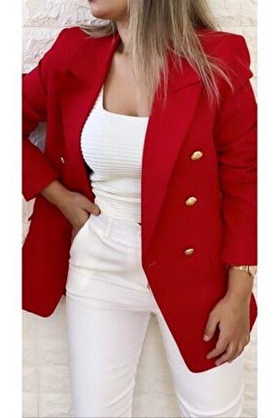 Gold Düğmeli Blazer Ceket Kırmızı