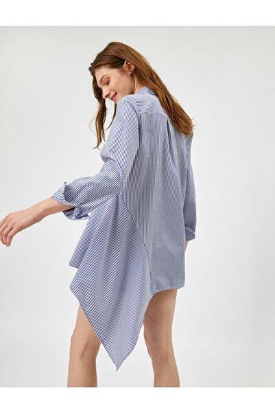 Koton Kadın Mavi Asimetrik Gömlek Yaka Çizgili Bluz