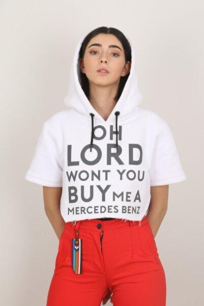 GOKHANYAVAS Unisex Beyaz Kapüşonlu Slogan Detaylı Sweatshirt