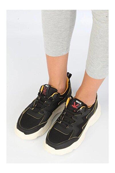 NİCE Kadın Siyah Sarı Spor Ayakkabı